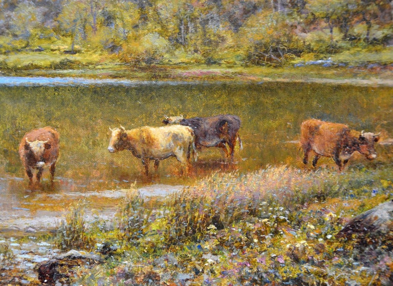 Scottish Landscape with Highland Cattle - 19th Century Oil Painting - Glendening For Sale 4