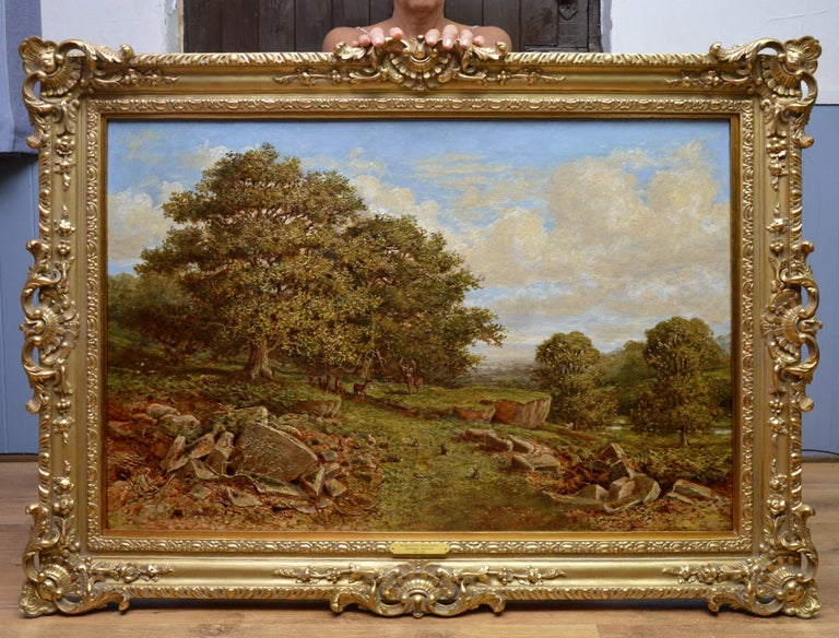 Bradgate Park, Leicestershire - 19th Century Oil Painting - Royal Academy 1880 - Brown Landscape Painting by Edward Davies