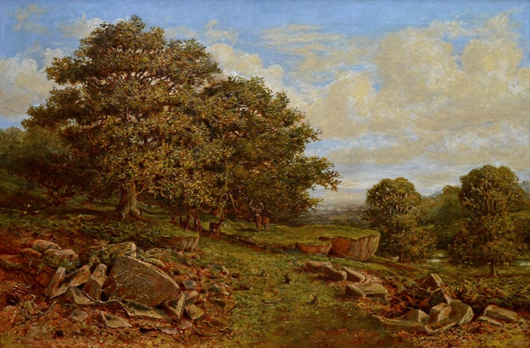 This is a fine large 19th century oil on canvas depicting family of dear and rabbits in an extensive English woodland landscape of 'Bradgate Park, Leicestershire' by the eminent Victorian painter Edward Davies (1843-1912). This was the very first