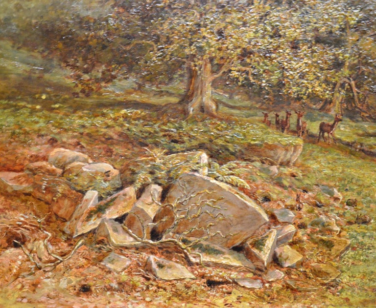 Bradgate Park, Leicestershire - 19th Century Oil Painting - Royal Academy 1880 For Sale 5