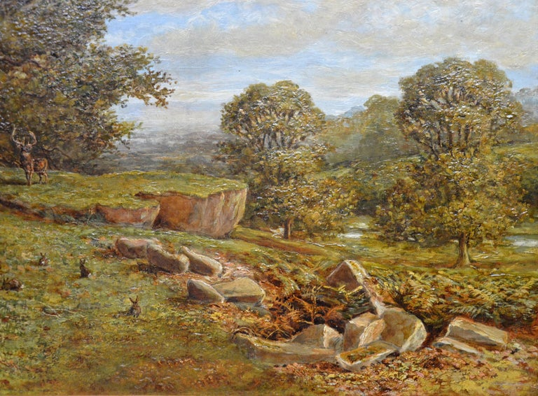 Bradgate Park, Leicestershire - 19th Century Oil Painting - Royal Academy 1880 For Sale 6