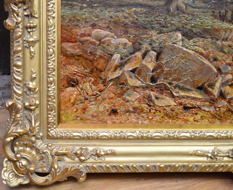 Bradgate Park, Leicestershire - 19th Century Oil Painting - Royal Academy 1880 For Sale 9