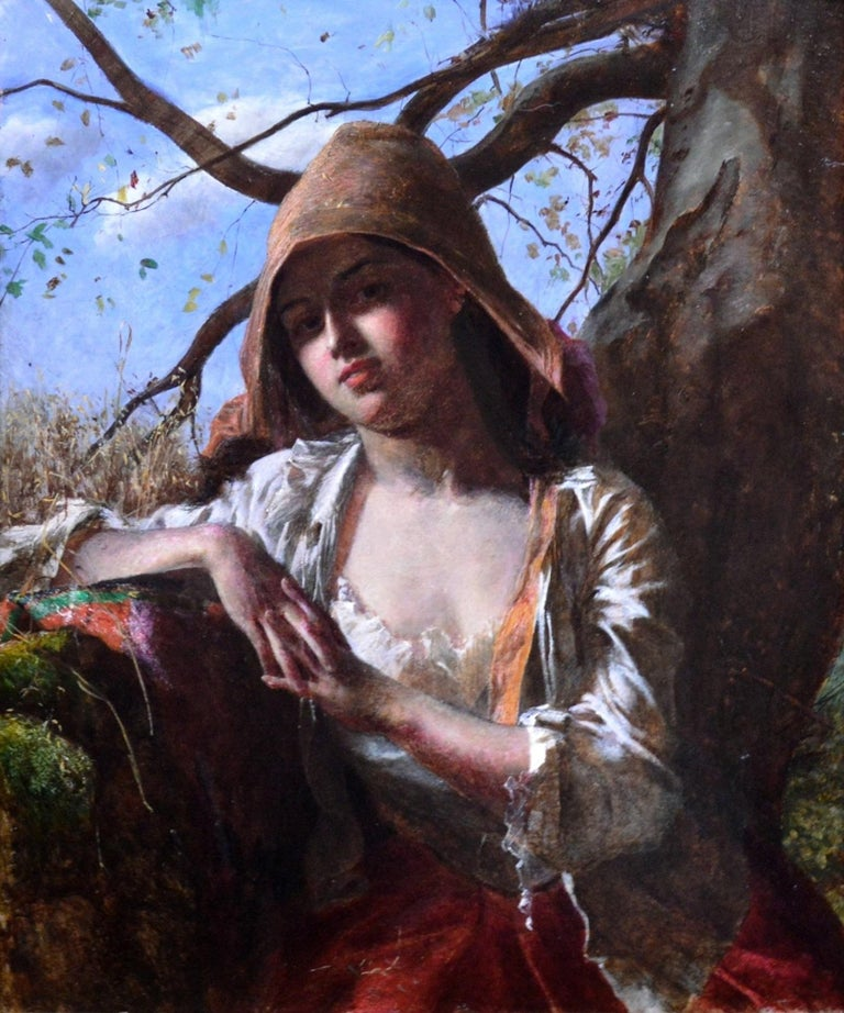 A Country Lass - 19th Century Pre-Raphaelite Portrait Oil Painting of Young Girl For Sale 1