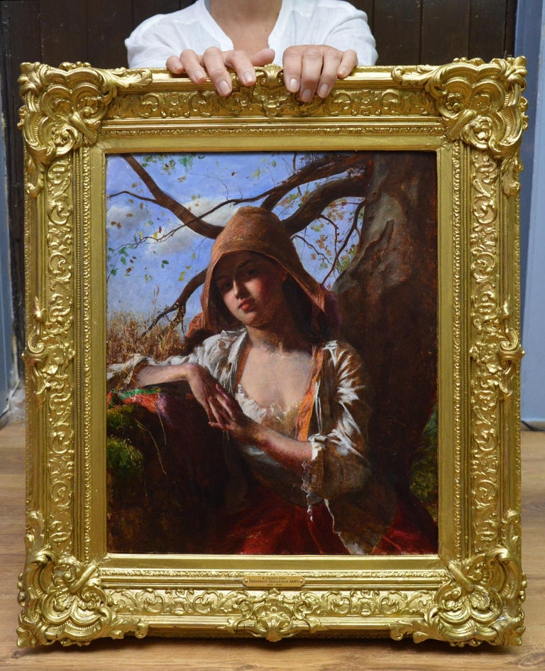 A Country Lass - 19th Century Pre-Raphaelite Portrait Oil Painting of Young Girl - Brown Figurative Painting by Frederick Smallfield