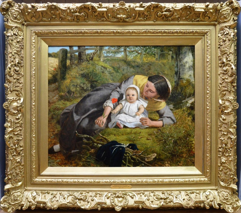 Mother & Child with Poppy - Mid 19th Century Pre Raphaelite Oil Painting - 1862