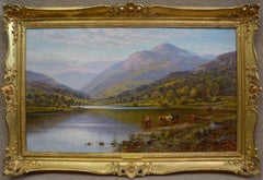 Scottish Landscape with Highland Cattle - 19th Century Oil Painting - Glendening