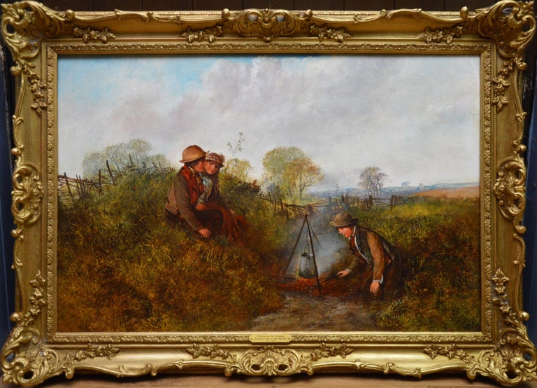 George William Mote Landscape Painting - Children on the Common - Large 19th Century English Landscape Oil Painting
