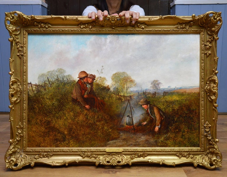 Children on the Common - Large 19th Century English Landscape Oil Painting - Brown Landscape Painting by George William Mote