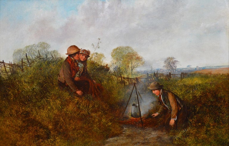 This is a large fine 19th century summer landscape oil on canvas depicting two boys and a girl cooking up an outdoor supper by the celebrated Royal Academy artist George William Mote (1832-1909). 'Children on the Common' is signed by the artist's