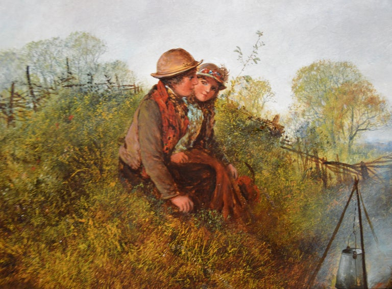 Children on the Common - Large 19th Century English Landscape Oil Painting For Sale 2