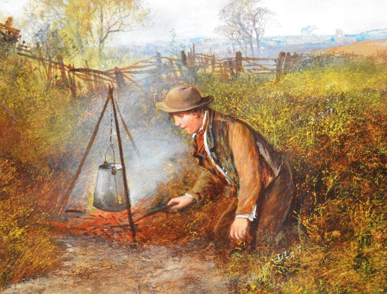 Children on the Common - Large 19th Century English Landscape Oil Painting For Sale 3