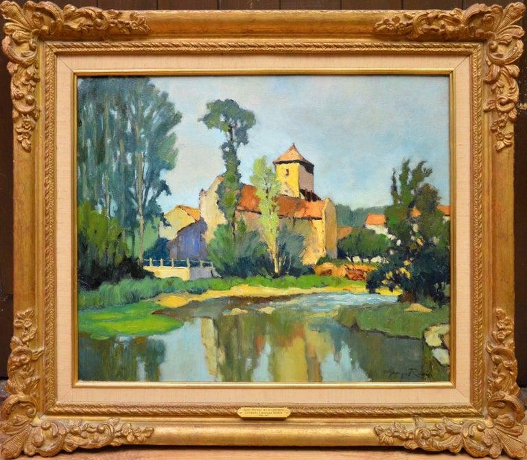 Georges Charles Robin Landscape Painting - Saint-Macoux sur la Charente - French Post Impressionist Oil Painting - 1950