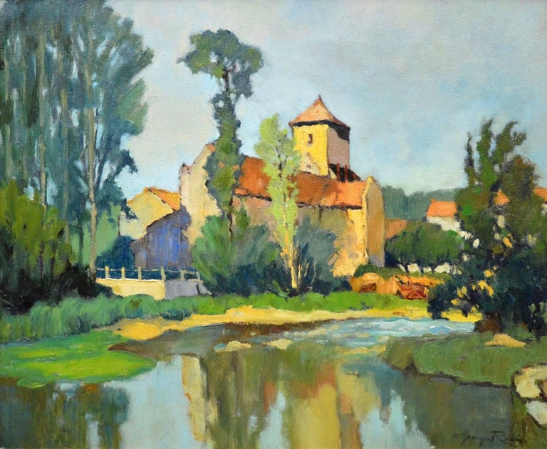This is a fine original French Post-Impressionist oil on canvas depicting a view of the village of 'Saint-Macoux' on the River Charente in the Vienne department of Western France by the eminent Post-Impressionist painter Georges Charles Robin