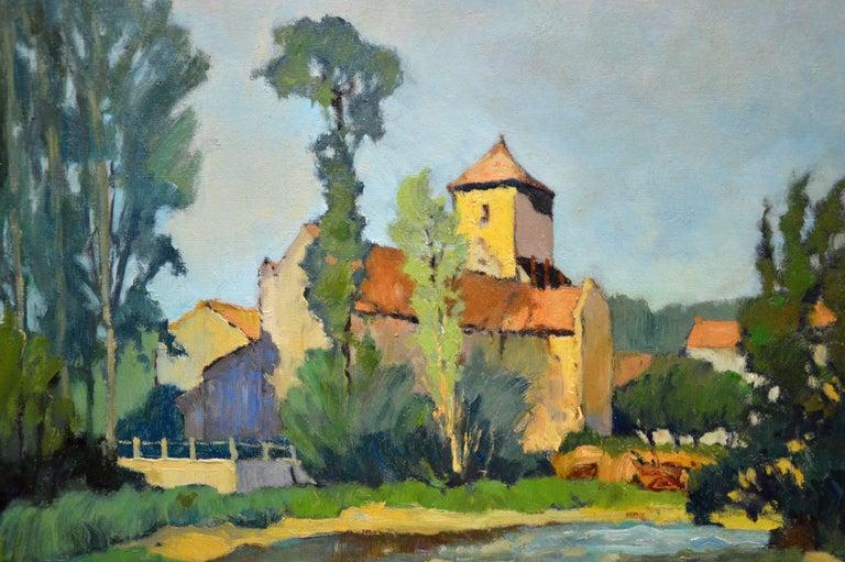 Saint-Macoux sur la Charente - French Post Impressionist Oil Painting - 1950 For Sale 1