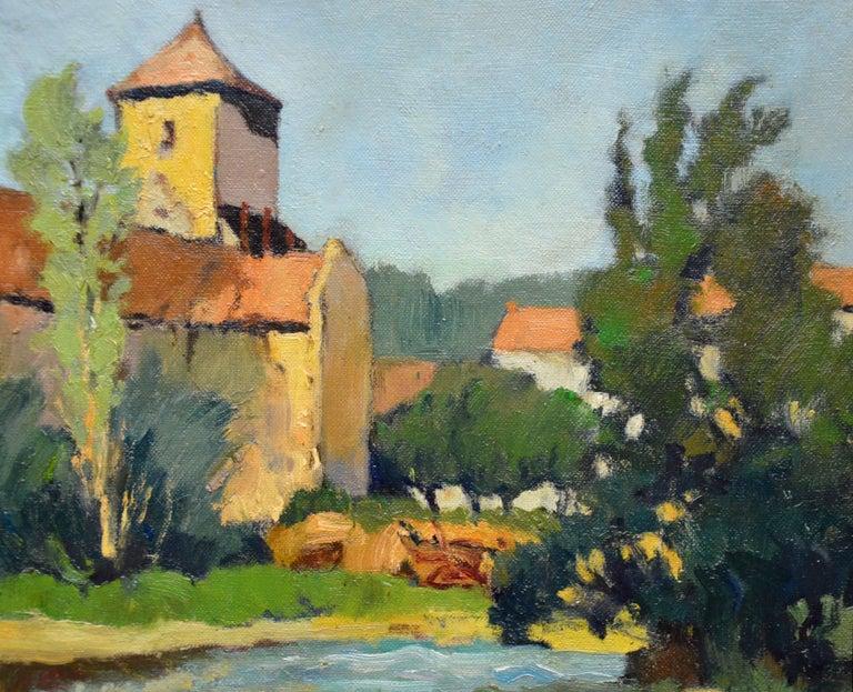 Saint-Macoux sur la Charente - French Post Impressionist Oil Painting - 1950 For Sale 2
