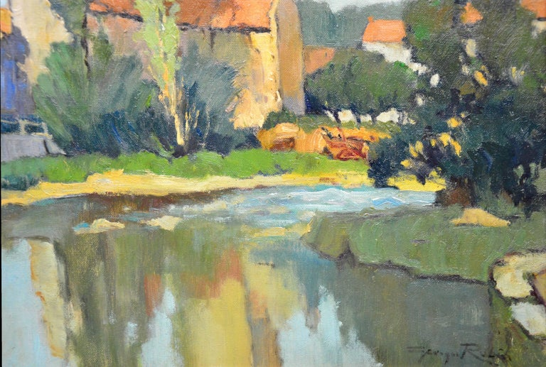 Saint-Macoux sur la Charente - French Post Impressionist Oil Painting - 1950 For Sale 3