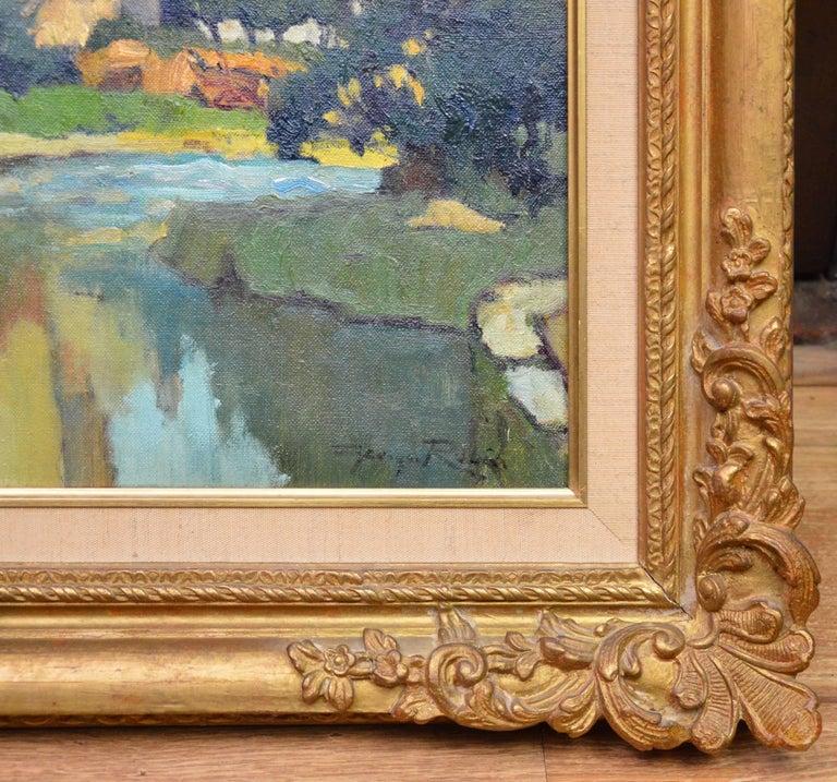 Saint-Macoux sur la Charente - French Post Impressionist Oil Painting - 1950 For Sale 4