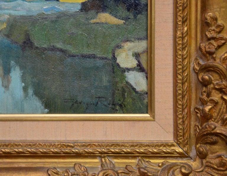 Saint-Macoux sur la Charente - French Post Impressionist Oil Painting - 1950 For Sale 5
