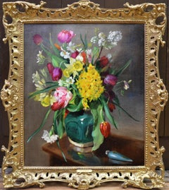Tulips & Daffodils - Floral Still Life Oil Painting of Spring Flowers
