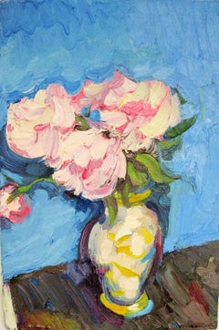 Peonies Against Pale Blue