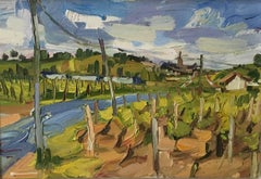 The Bordeaux train passing Saint-Emilion, oil on panel