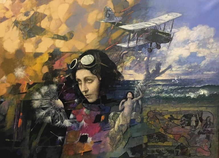 Tom Adams Portrait Painting - Flight II. Amy Johnson