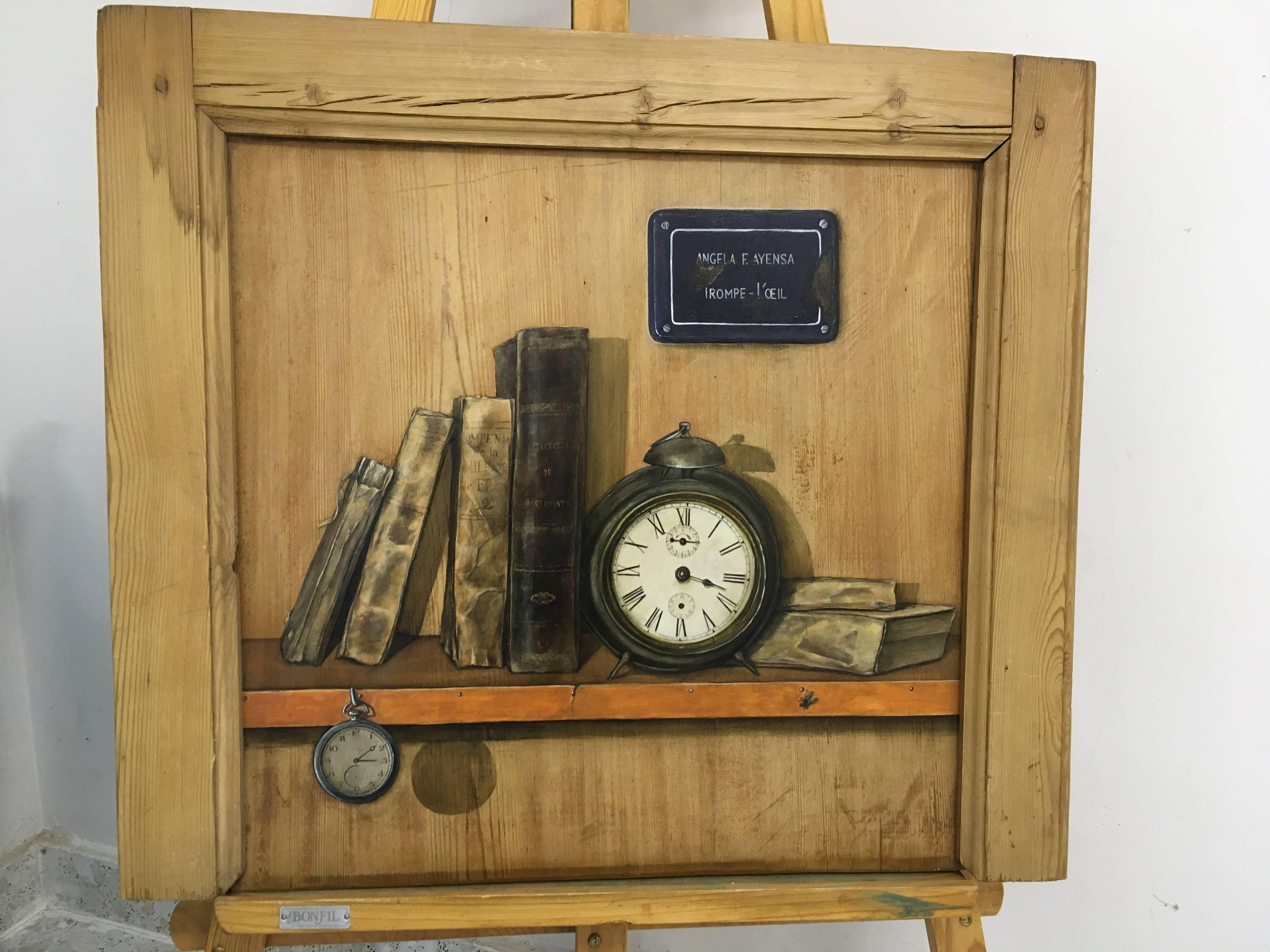 Conflicto, oil on cupboard wooden panel, trompe-l'oeil still life