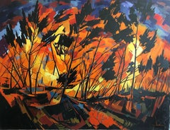 Fire in The Landes forest, expressionist landscape