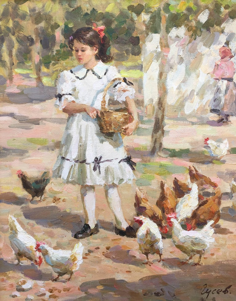 Raising happy chickens, post impressionist oil painting