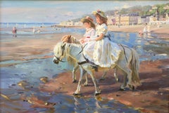 Pony riding on the beach, post-impressionist style oil painting
