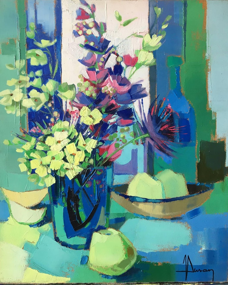 Yellow and blue harmony, still life expressionist style
