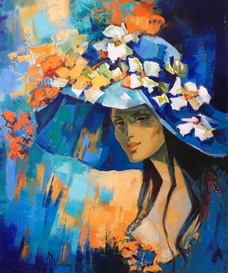 The blue pamela hat, expressionist style  oil painting