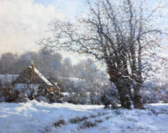 Old farm in winter, French landscape postimpressionist style
