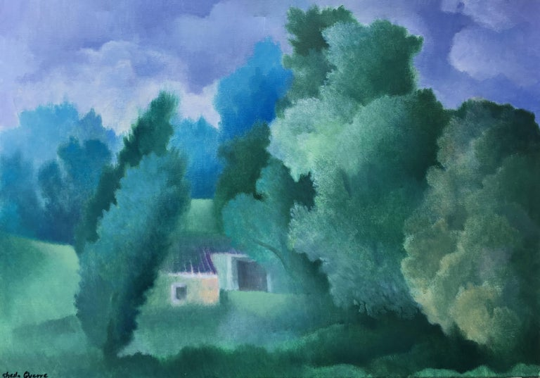 The Little House, oil on canvas romantic style