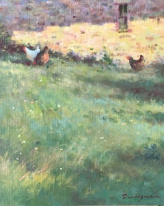 """Three chickens"", little oil on canvas, impressionist style"