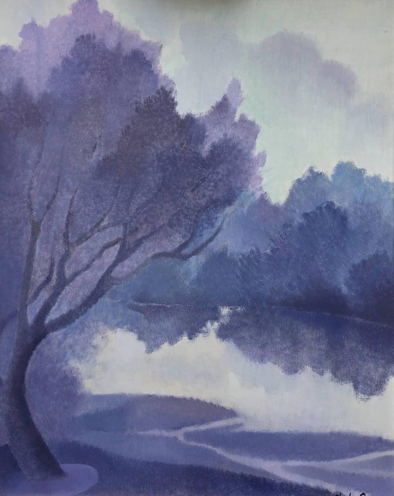 """The Dordogne river passing by Civrac"", oil on panel Romantic style"