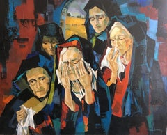 The mourners, oil on canvas expressionist style