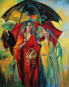 The umbrellas, oil on canvas, expressionist style