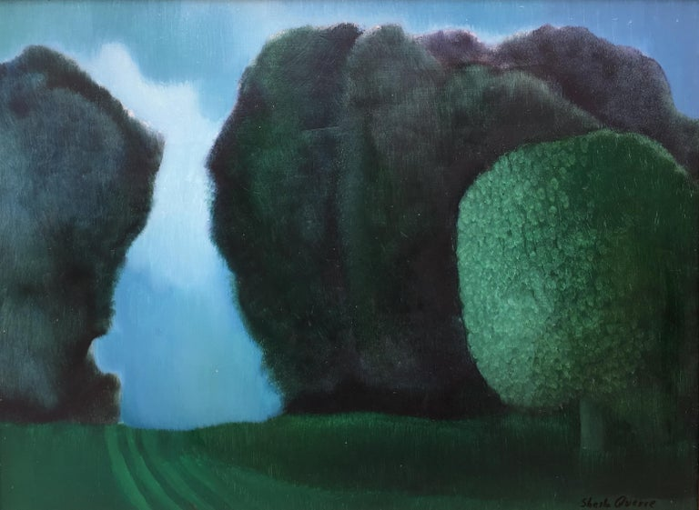 The green tree, monumental landscape, oil on panel romantic style