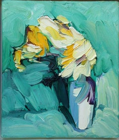 Yellow Roses Against Turquoise