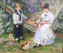 Les enfants et les chats, Oil on Canvas by Vladimir Goussev