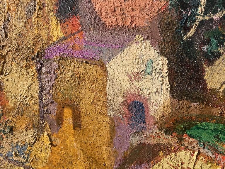 Surcos amarillos - Brown Landscape Painting by Goyo Dominguez