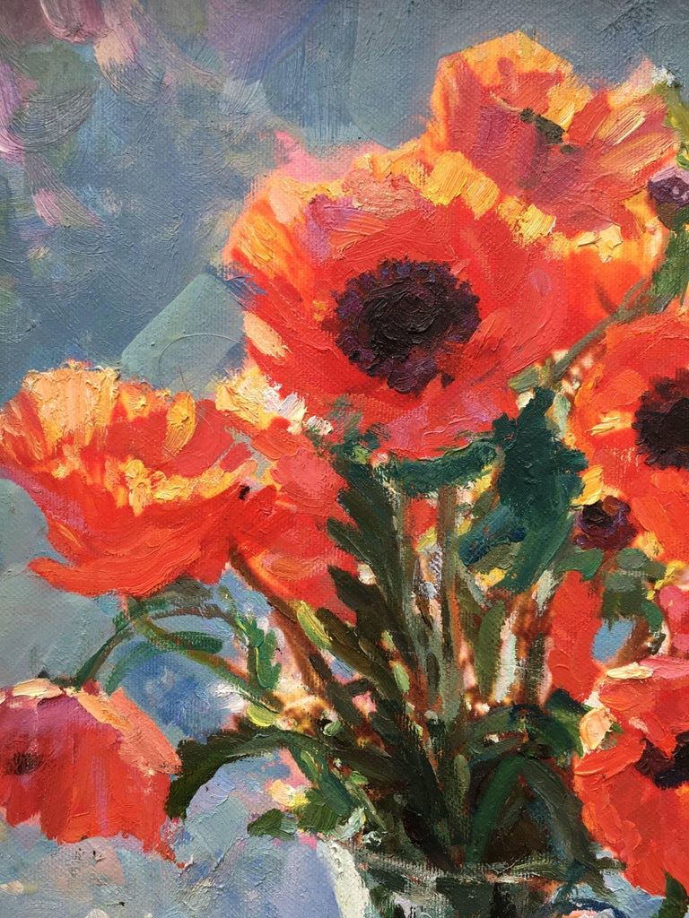The poppies, dimension without frame  H: 49 x W: 41 cm Sold with frame, dimension H: 69 x W: 61 x D: 5 cm A few words of  Sergey Marchenko: