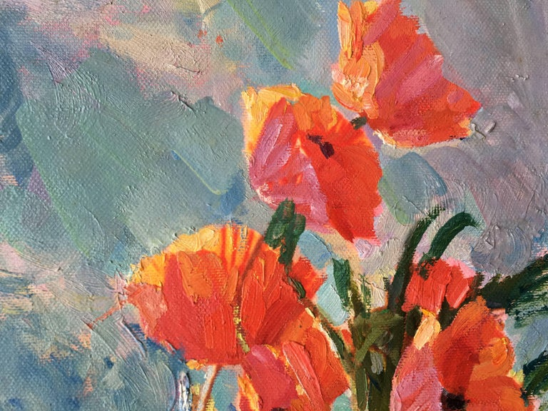 The Poppies - Brown Figurative Painting by Sergey Marchenko