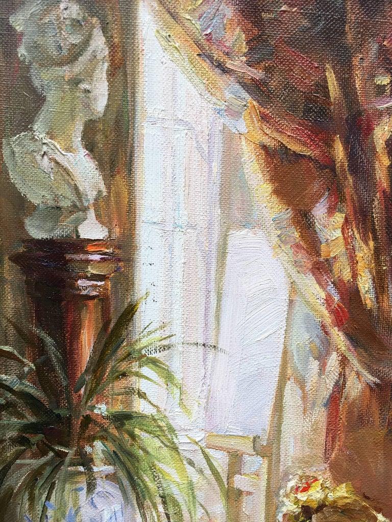 The Artist's Studio - Brown Portrait Painting by Sergey Marchenko