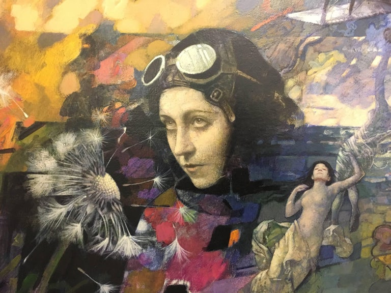 Flight II. Amy Johnson - Surrealist Mixed Media Art by Tom Adams
