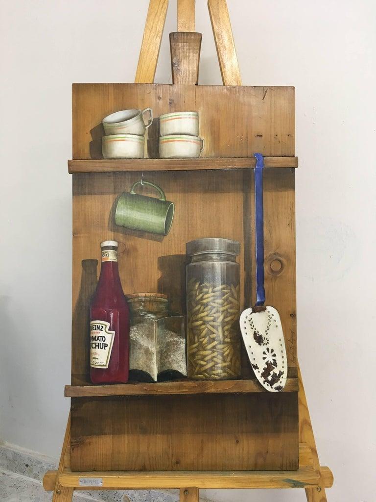 Serenidad, oil on cutting board, trompe-l'oeil still-life