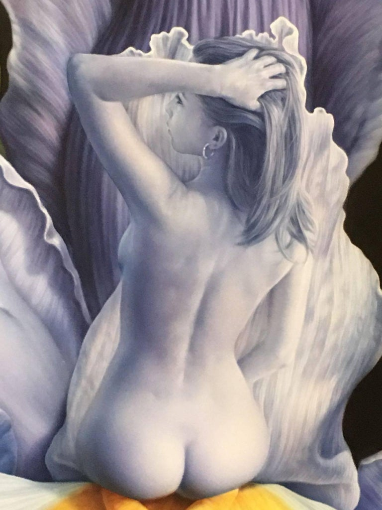 Iris - Black Figurative Painting by Lluis Rizzo Rey