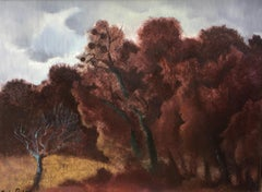 """""""The oak grove"""" oil on panel in Romantic style"""
