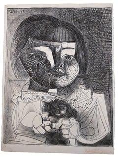 Paloma et sa Poupée sur Fond Noir (Bloch 727)
